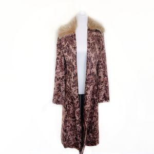 ANTHRO ELEVENSES Floral Chevril Collared Duster